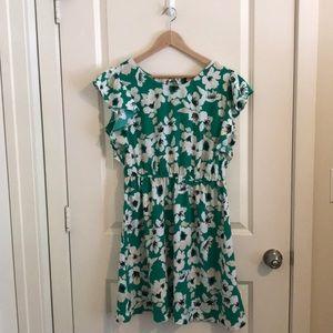 Green floral print summer dress